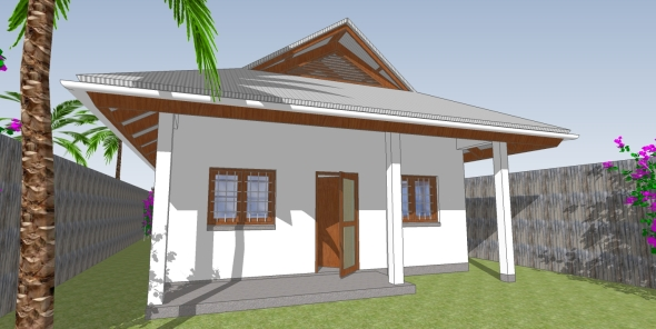 Front of Anna's new house with shaded/covered veranda.